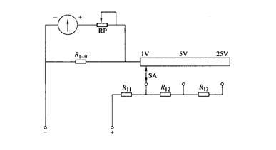 mf -30型万用表测量直流电压的原理图